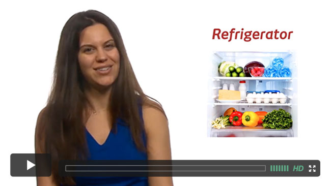 A thumbnail from a course lecture on stocking a plant-based refrigerator