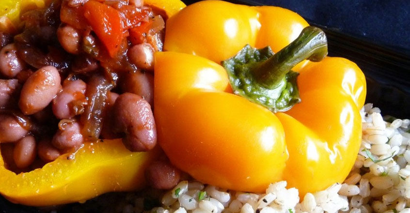Mexican Chili Bean Stuffed Peppers