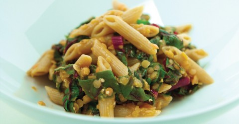 Penne With Red Lentils and Chard
