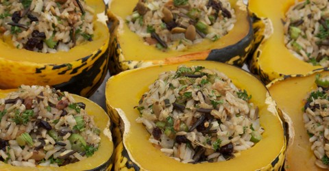Wild Rice Stuffed Carnival Squash