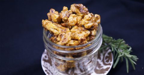 Maple and Curry Roasted Walnuts