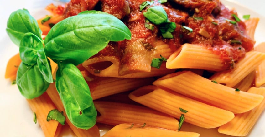 Roasted Tomato Sauce With Portobello Mushroom Over Red Lentil Penne