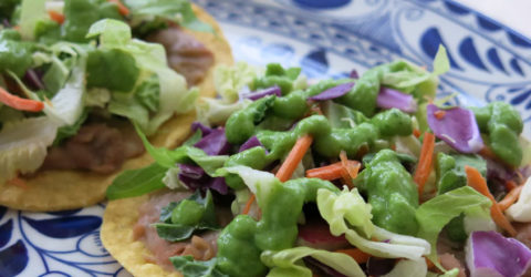 Pinto Bean Tostadas With Avocado Salsa