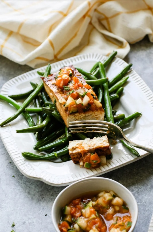 Tofu Steaks with Apricot Mint Compote