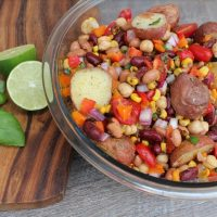 Three Bean Salad With Roasted Potatoes