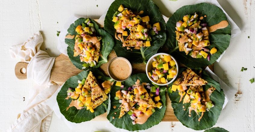 Tempeh Collard Wraps With Mango Salsa