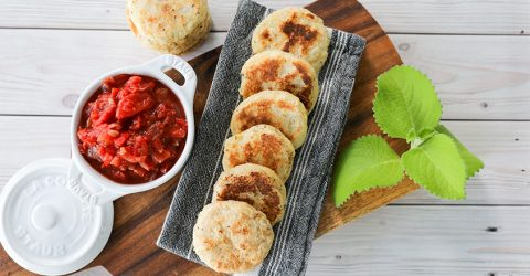 Yuca Arepas with Hogao (Tomato and Onion) Sauce